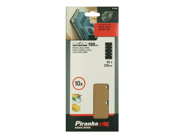 Arkusze ścierne 93x230mm P150 10szt. X31090 Piranha