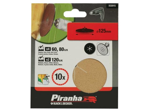 Krążki ścierne 125mm 10szt. różne Piranha
