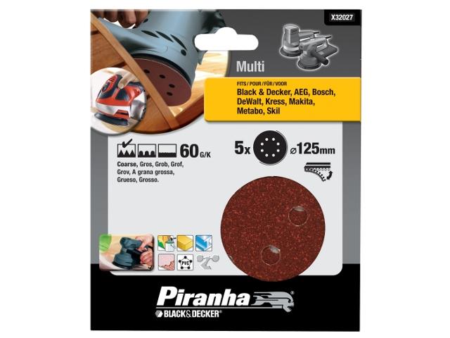 Krążki ścierne na rzep 125mm P60 5szt. X32027 Piranha