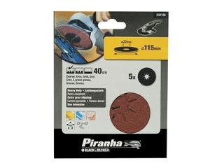 Krążki ścierne fibrowe 115x22mm P40 5szt. Piranha