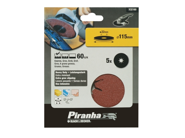 Krążki ścierne fibrowe 115x22mm P60 5szt. Piranha