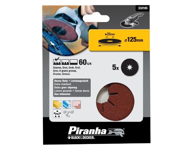 Krążki ścierne fibrowe 125x22mm P60 5szt. Piranha