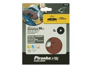 Krążki ścierne fibrowe 125x22mm P80 5szt. Piranha