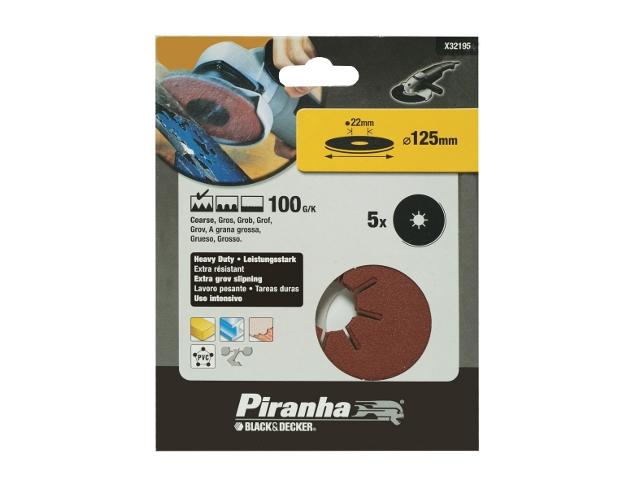 Krążki ścierne fibrowe 125x22mm P100 5szt. Piranha