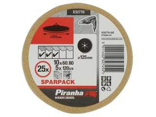 Krążki ścierne 125mm 25szt. różne Piranha