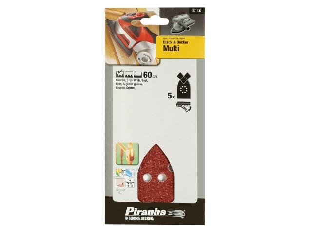 Papier ścierny na rzep P60 5szt. Piranha