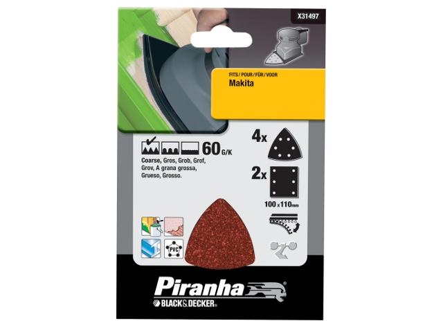 Papier ścierny P60 6szt. Piranha