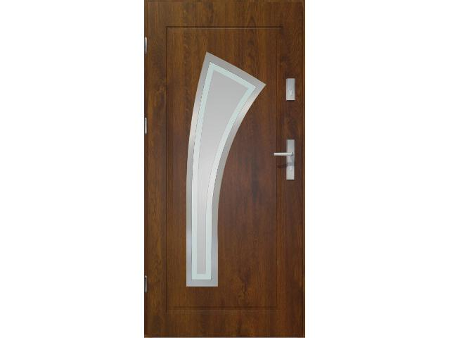 Drzwi zewnętrzne PRIME 55 Wulkan lakomat ramka stal nierdzewna ciemny orzech 90 lewe O.K. Doors