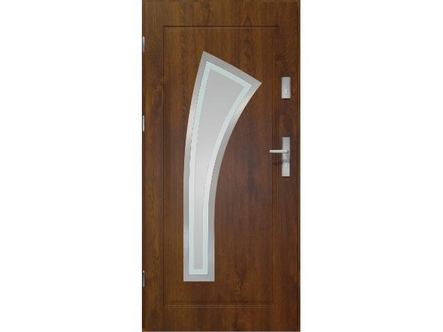 Drzwi zewnętrzne PRIME 55 Wulkan lakomat ramka stal nierdzewna ciemny orzech 90 prawe O.K. Doors