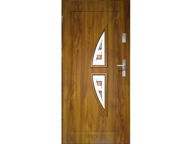 Drzwi zewnętrzne PRIME 55 Kronos witraż ramka PCV złoty dąb 90 lewe O.K. Doors