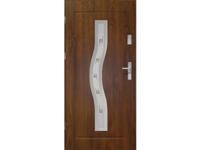 Drzwi zewnętrzne PRIME 55 Ceres witraż ramka stal nierdzewna ciemny orzech 90 prawe O.K. Doors