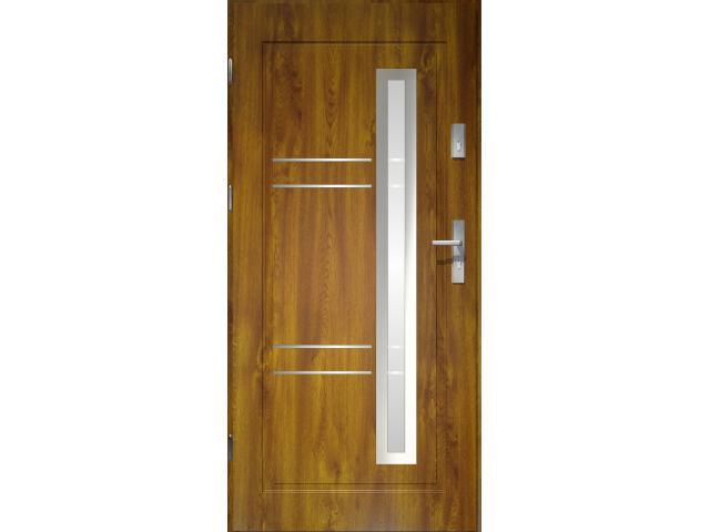 Drzwi zewnętrzne PRIME 55 Apollo lakomat ramka stal nierdzewna złoty dąb 90 prawe O.K. Doors