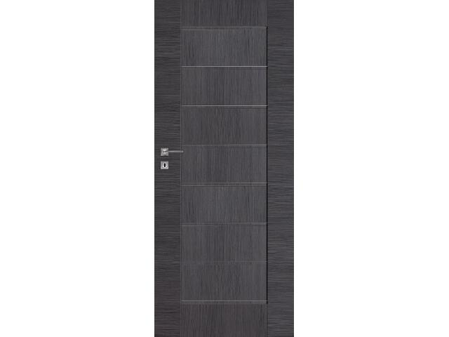Drzwi okleinowane Premium 4 dąb szary ryfla 80 prawe wkładka patentowa DRE
