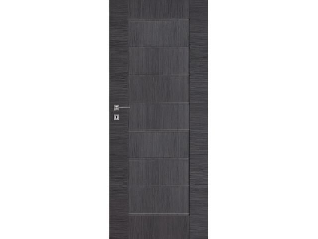 Drzwi okleinowane Premium 4 dąb szary ryfla 80 lewe wkładka patentowa DRE