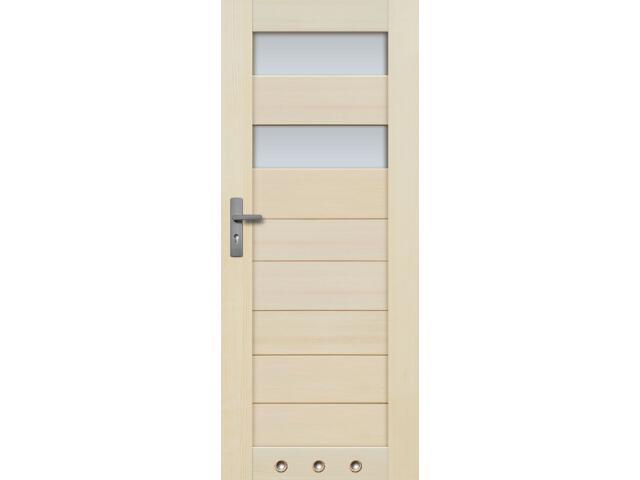 Drzwi sosnowe TOSSA przeszklone (2 szyba) 80 prawe 3 tuleje Radex
