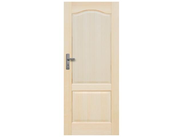 Drzwi sosnowe Tryplet pełne 80 prawe, zamek WC, 3 zawiasy Radex