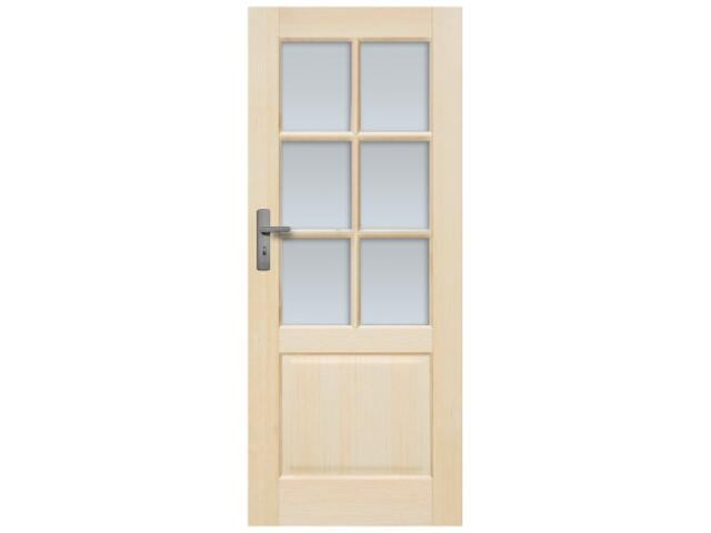 Drzwi sosnowe Turyn przeszklone (6 szyb) 80 prawe, zamek klucz, 3 zawiasy Radex
