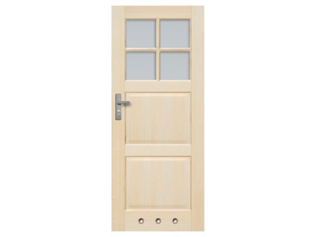 Drzwi sosnowe Turyn przeszklone (4 szyby) z tulejami 80 lewe, 3 zawiasy Radex