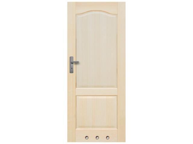 Drzwi sosnowe Tryplet pełne 80 prawe, zamek WC, 3 zawiasy,3 tuleje wentylacyjne Radex