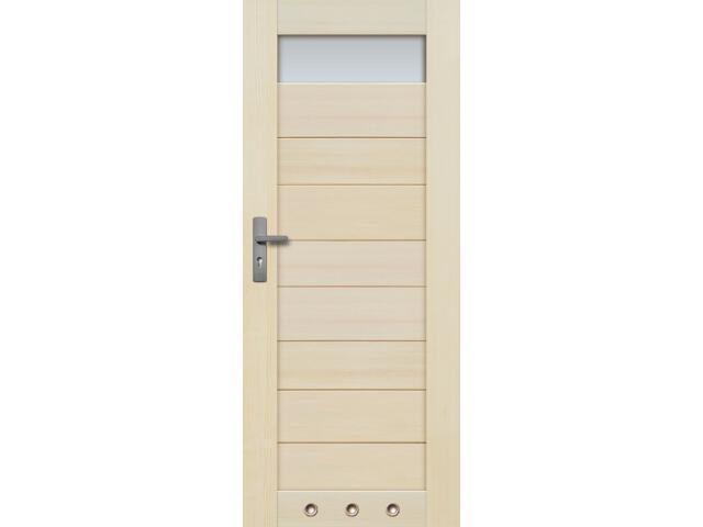 Drzwi sosnowe TOSSA przeszklone (1 szyba) 80 prawe 3 tuleje Radex
