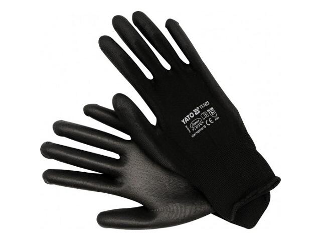 Rękawice nylonowe czarne rozm. 10 YT-7473 Yato