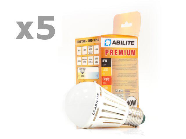 Żarówka LED 5W E27 biała ciepła 48SMD 5szt Abilite