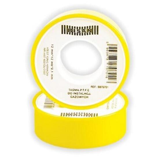 Taśma teflonowa P.T.F.E. gaz 0,10mm x 12mm x 12mb (rolka żółta) Bisan