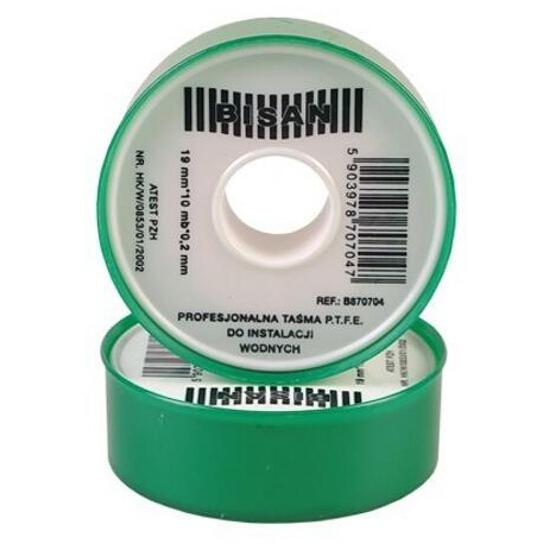 Taśma teflonowa P.T.F.E. profesjonalna 0,20mm x 19mm x 10mb (rolka zielona) Bisan