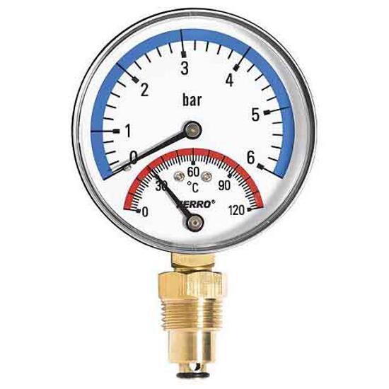 """Termomanometr 1/2"""" 0-6bar 0-120°C TM80R Ferro"""