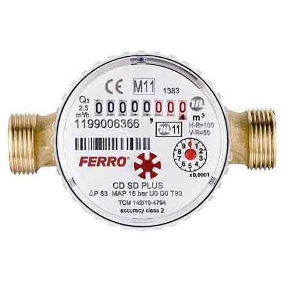 """Wodomierz 3/4"""" DN20 suchobieżny do wody ciepłej CDSD20AC PLUS Ferro"""