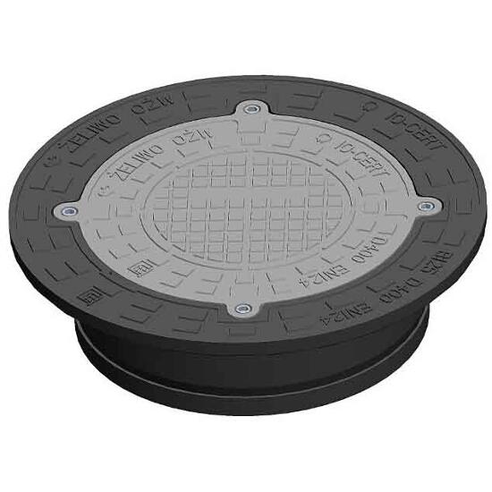 Właz kanalizacyjny żeliwny D400/425 okrągły do rury tel.(2 śruby) Wavin