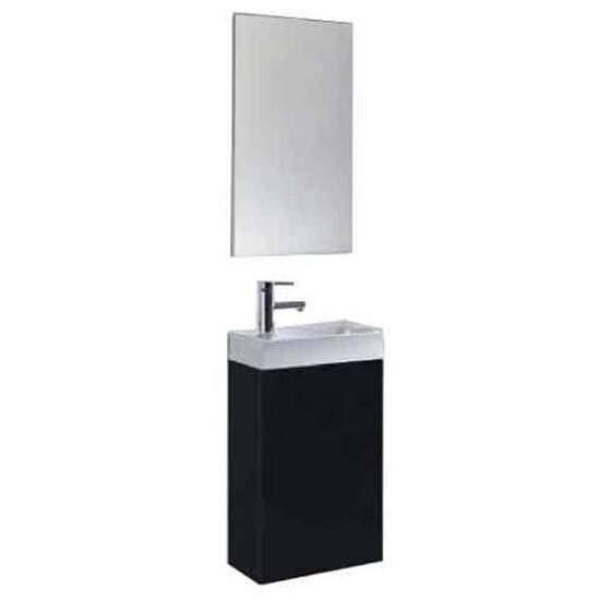 Szafka z umywalką i lustrem w zestawie YOUNG Black 164224 Elita