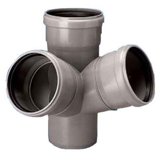 Czwórnik kanalizacyjny PP wew. HT dwupłaszczyznowy 110x110x110x67° popiel Wavin