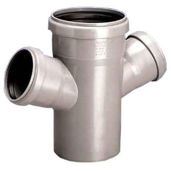 Czwórnik kanalizacyjny PP wew. HT jednopłaszczyznowy 50x50x50x67° popiel Wavin