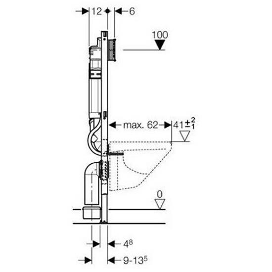 Stelaż do WC DUOFIX - UP320, Sigma, z odciągiem bocznym H112 111.364.00.5 Geberit