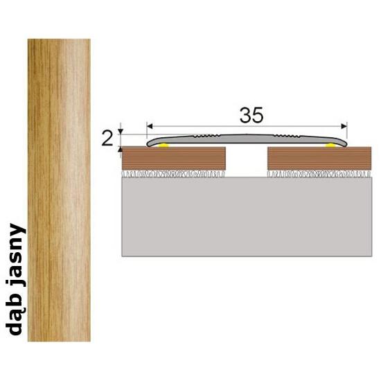 Listwa dylatacyjna Effect Standard A08 samoprzylepna dąb jasny 180cm Effector