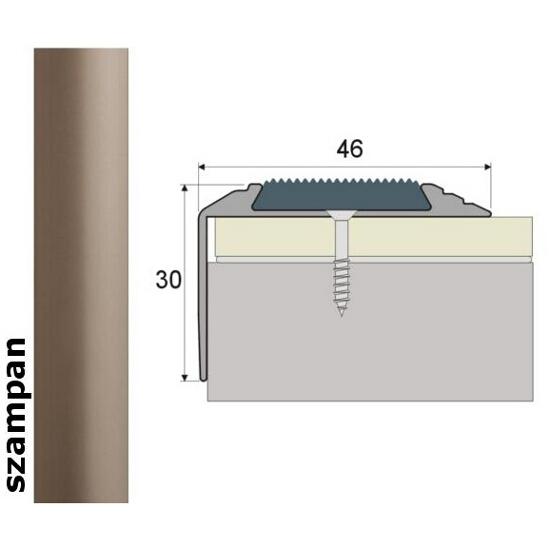 Listwa schodowa Effect Standard A38 z wkładką antypoślizgową szampan 90cm Effector