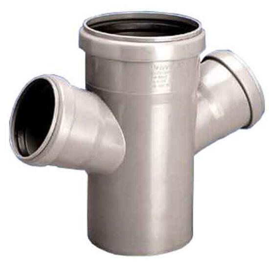 Czwórnik kanalizacyjny PP wew. HT jednopłaszczyznowy 110x50x50x67° popiel Wavin