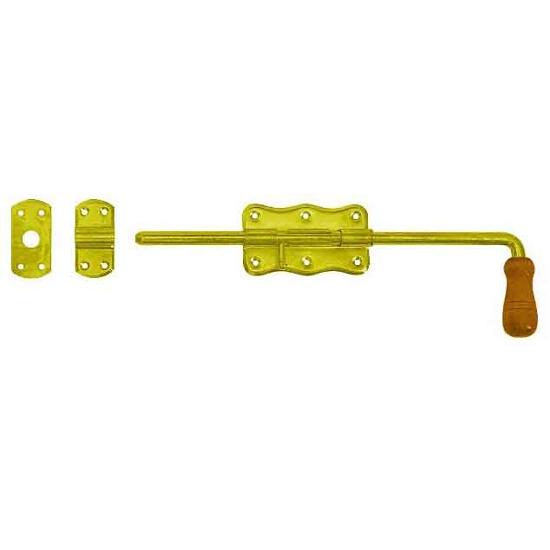 Zasuwka z ryglem z drewnianą rączką WRG120 120x60x1,3mm Domax