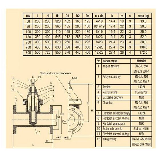 Zasuwa wodociągowa kołnierzowa ZK1 SZ15 DIN F5 DN100 PN10 Bohamet