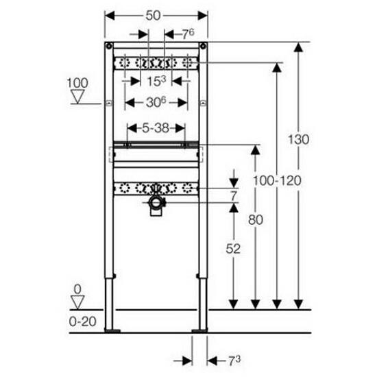 Stelaż do umywalki DUOFIX dla baterii ściennej H130 111.437.00.1 Geberit