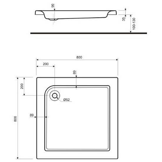 Brodzik kwadratowy STANDARD PLUS 800x800x90mm biały XBK1580 Koło