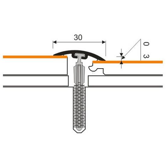 Listwa dylatacyjna 30mm PVC dąb 2E dł. 2m D-P0300-2E-200 Myck