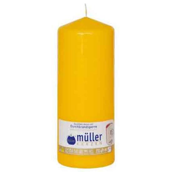 Świeca walec 200x80mm kolor żółty Muller