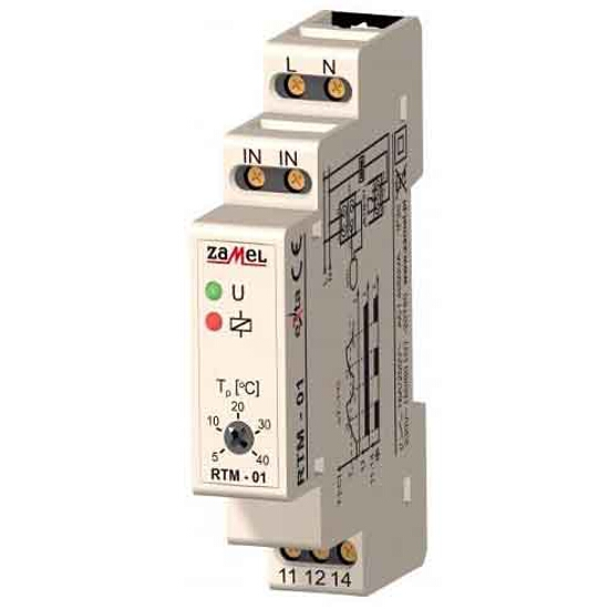 Termoregulator temperatury 5-40°C bez sondy 1-modułowy 230V 16A typ:RTM-01 Zamel