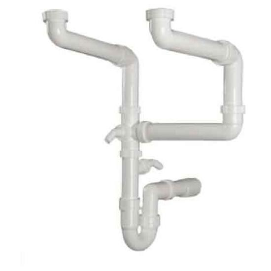 Zestaw kształtek łączących z syfonem do 2 komór do ARX110-17 ARX110-35 PKX110-34 PKX-18 Franke