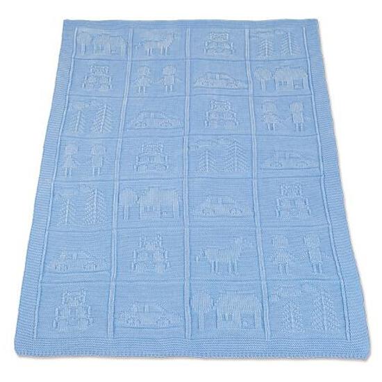 Koc dziecięcy 75x100cm Domki niebieski BabyMatex