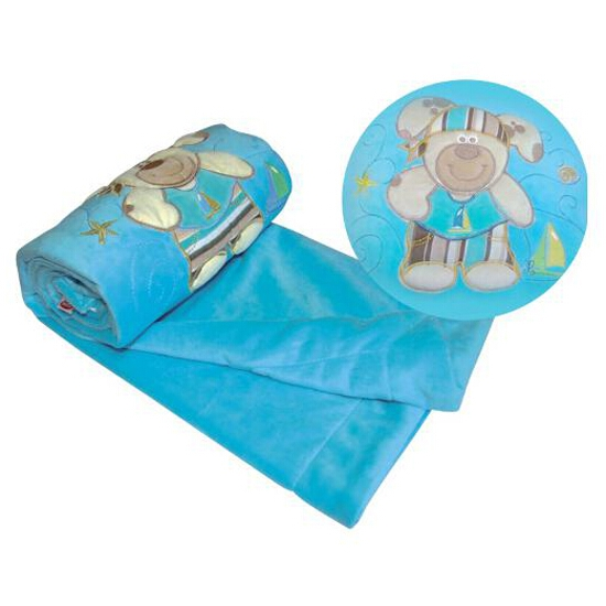 Koc bajkowy z pluszu 75x100cm niebieski BabyMatex