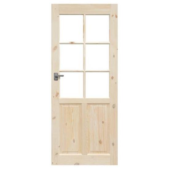 Drzwi sosnowe Londyn przeszklone (6 szyb) 80 lewe Radex