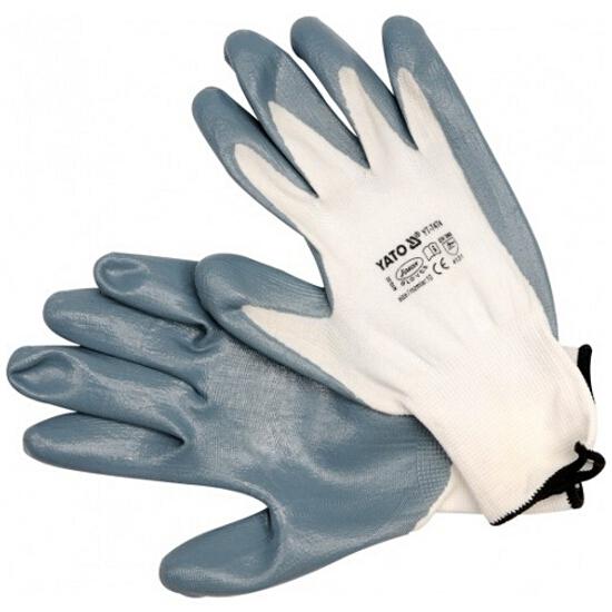 Rękawice nylonowe olejoodporne białe rozm. 10 YT-7474 Yato